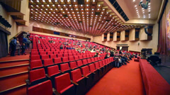 Audience before musical spectacle for children Treasure Island Stock Footage