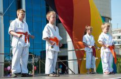 children are engaged in taekwondo - stock photo