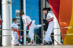 Children are engaged in taekwondo Stock Photos