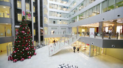 Hall with Christmas tree in Main office of Rosbank. Stock Footage