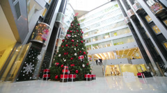 Christmas tree and elevators in Main office of Rosbank. Stock Footage