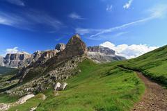 path over Pordoi pass - stock photo