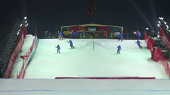 Skiers descend in contest BGV 2013 Grand Prix De Russie Stock Footage