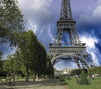 Eiffel Tower from Champ de Mars, Paris Stock Photos