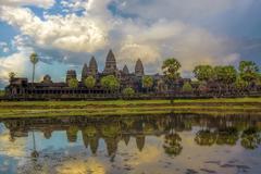 Sunset over Angkor Wat Stock Photos