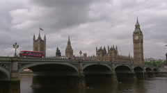 Westminster bridge and Palace of Westminster - stock footage