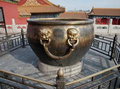 Forbidden City: Copper and Iron Vat Stock Photos