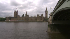 Palace of Westminster across the Thames Stock Footage