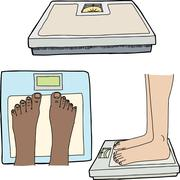 Feet and Bathroom Scales Stock Illustration
