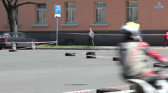 Yellow flag on motortrack in marshal hands Stock Footage