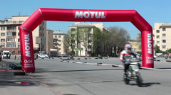 Motobikers riding on Championship, Russia Stock Footage