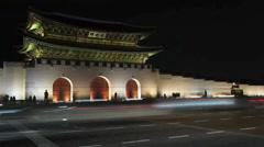 Time lapse night view of Gwanghwamun gate Stock Footage
