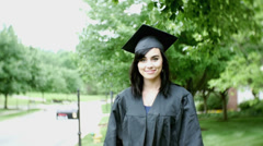 grad student college graduate beautiful woman lady girl - stock footage
