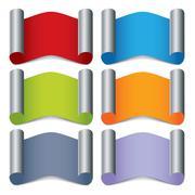 folded color labels - stock illustration