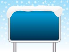 snowy blue sign - stock illustration