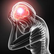 Female brain pain on gray - stock illustration