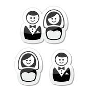 Married couple labels - groom and bride - stock illustration