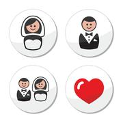 Groom and bride on round white labels - stock illustration