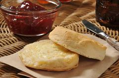 Biscuit with cranberry sauce Stock Photos