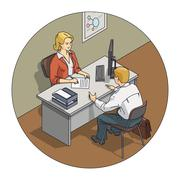 Manager woman talk with customer - stock illustration