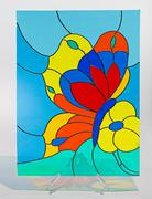 Stained glass - butterfly - stock photo