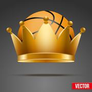Background of Basketball ball with royal crown - stock illustration