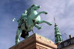 Statue of Bishop Absalon in Copenhagen Stock Photos