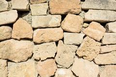 Drystone wall closeup - stock photo