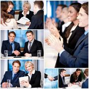Business collage, innovative concept. Stock Photos