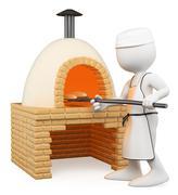 3d white people. baker making bread in the oven - stock illustration