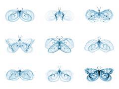 Stock Illustration of Diversity of Fractal Butterflies