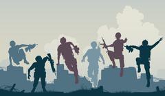Soldiers advance Stock Illustration