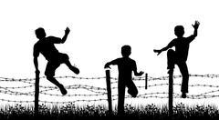 fence boys - stock illustration