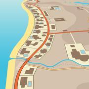 angled beachfront - stock illustration