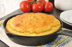 Cornbread in a cast iron skillet - stock photo
