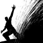 Man sliding Stock Illustration
