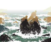whitewater rafting - stock illustration