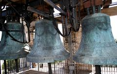 Ancient bronze bells historical in the bell tower of the church Stock Photos