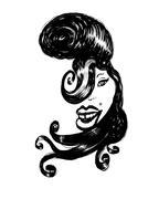 amy winehouse caricature - stock illustration