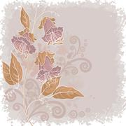 Flowers kobe and abstract pattern Stock Illustration