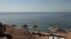 Panoramic view of El Fanar beach, Sharm El Sheikh, Egypt Stock Footage