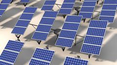 Field of articulated solar panels in morning Stock Illustration