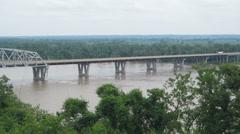 Mark Twain Memorial Bridge, Mississippi River, Hannibal, MO Stock Footage