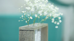 Stock Video Footage of Beautiful celebratory flowers in glass flasks and wooden rack