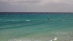 2 wind surfers  in Atlantic - stock footage