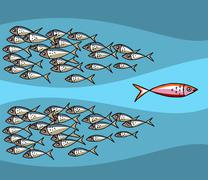 Fish Swimming Against The Tide Stock Illustration