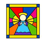 Angel in stained glass Stock Illustration