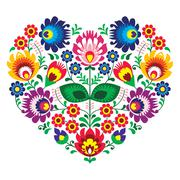Stock Illustration of Polish folk art art heart embroidery with flowers - wzory lowickie