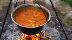Traditional hungarian paprika potatoes is cooking on a campfire Stock Footage