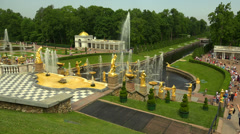 Alley of fountains. Peterhof. Fountains. Petrodvorets. 4K. Stock Footage
